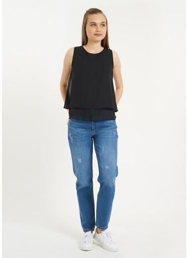 Tiffany&Tomato Kolsuz U Yaka Şifon Bluz Siyah